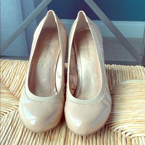 """Nude patent leather 4"""" wedges"""